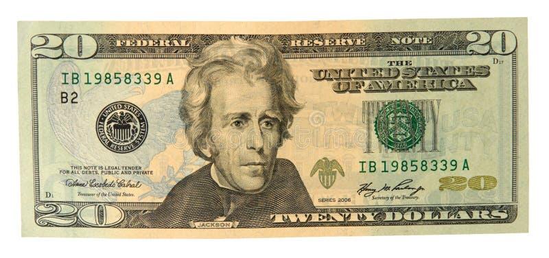 Zwanzig Dollarschein stockfoto