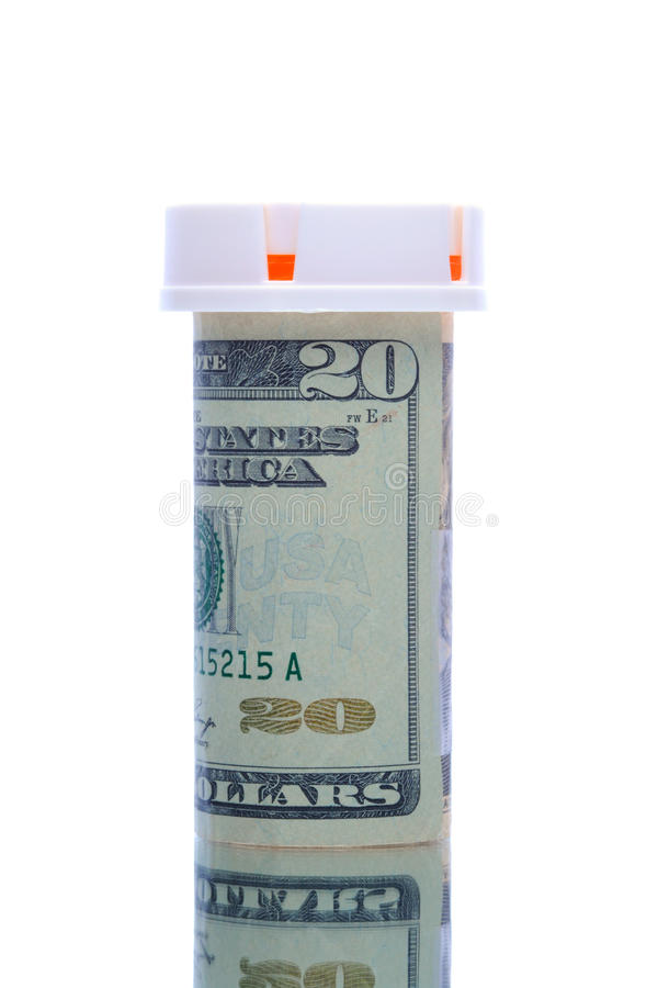 Zwanzig Dollarschein-Verordnungflasche lizenzfreies stockbild