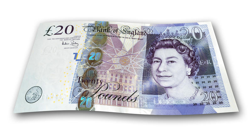 Zwanzig Pfund-Anmerkung stockfoto