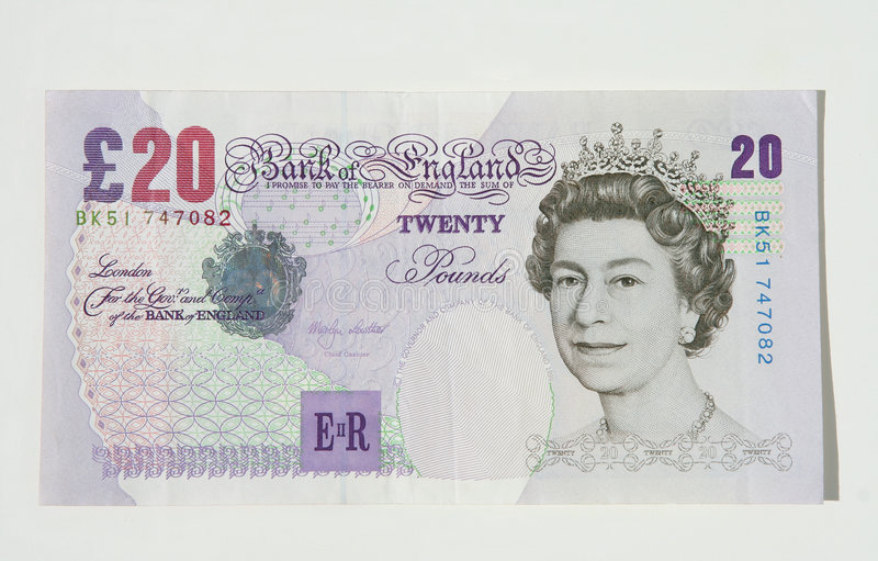 Zwanzig Pfund-Anmerkung, BRITISCHES Bargeld lizenzfreies stockbild