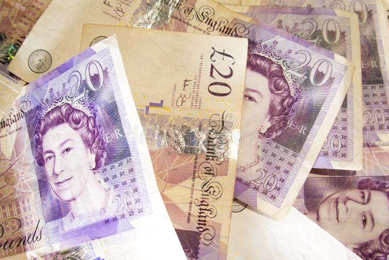 Zwanzig, Pfundanmerkungen als Hintergrund lizenzfreie stockbilder