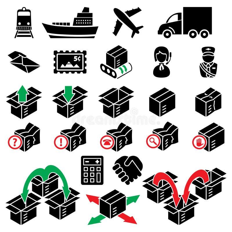 Zwanzig vier Paketlieferungsikonen lizenzfreie abbildung
