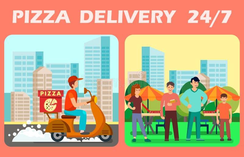 Zwanzig vier Stunden Pizza-Lieferungs-Vektor-Netz-Fahnen- lizenzfreie abbildung