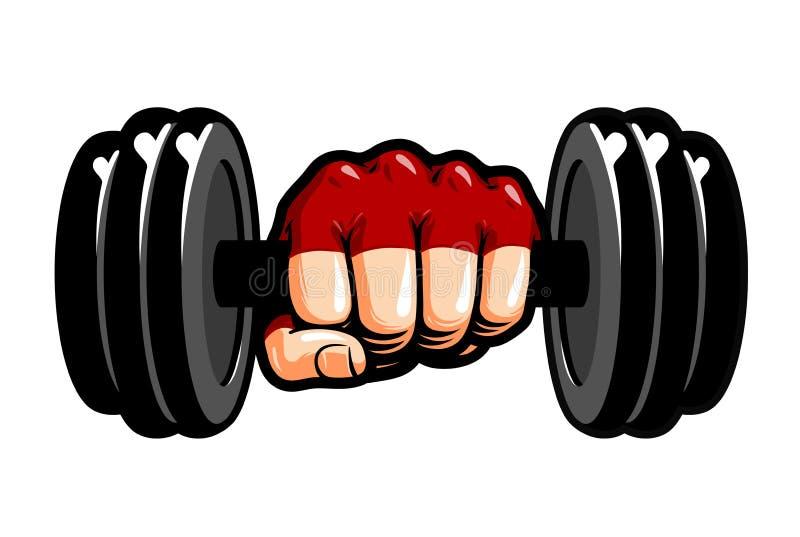 Zware domoor ter beschikking, beeldverhaal Gymnastiek, het bodybuilding, gewichtheffensymbool Sport vectorillustratie royalty-vrije illustratie