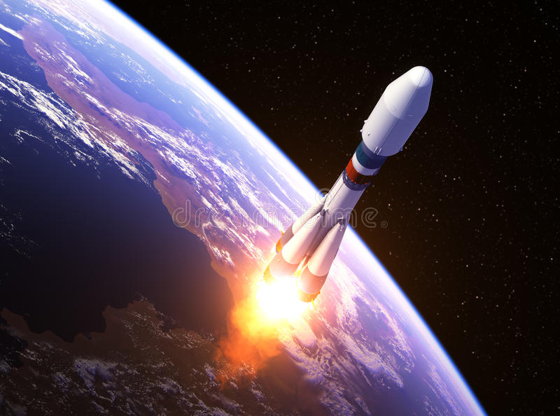 Zware Drager Rocket Launch royalty-vrije illustratie