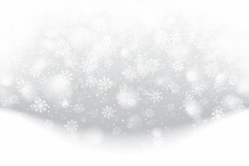 Zware kerstviering met sneeuw 3D-effect met realistische sneeuwvlokken bedekken op lichtgedempte zilverachtergrond royalty-vrije stock afbeelding