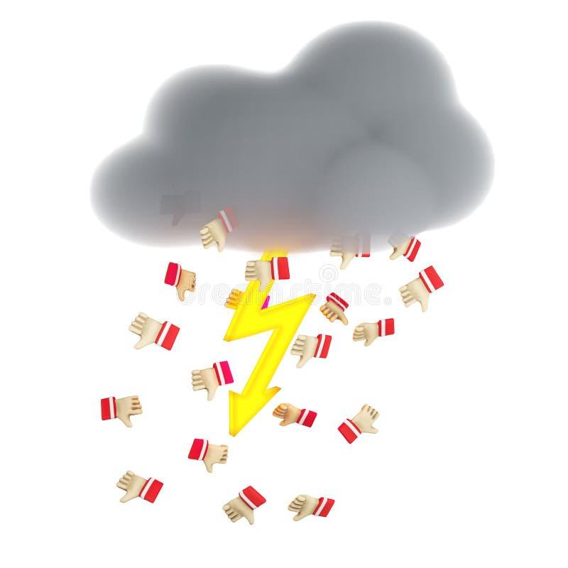 Zware wolk die met gele verlichting rode afkeer gieten royalty-vrije illustratie