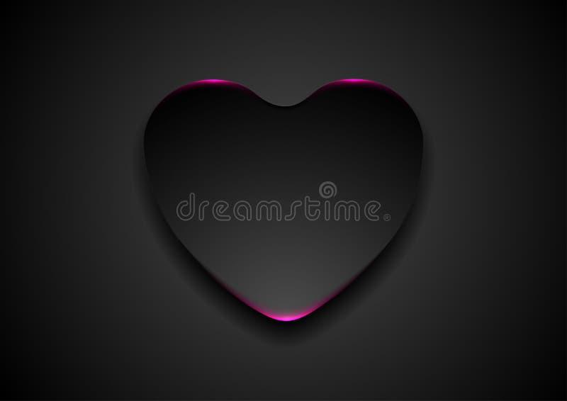 Zwart abstract hart met purpere neonlichtachtergrond stock illustratie