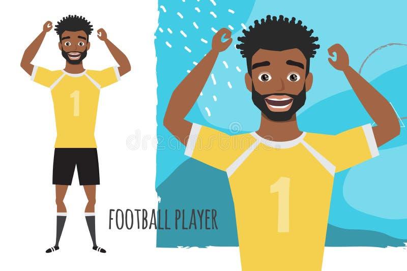 Zwart Afrikaans Amerikaans voetbalkarakter Voetballer met bal Emotie van vreugde en vreugde op het mensengezicht vector illustratie