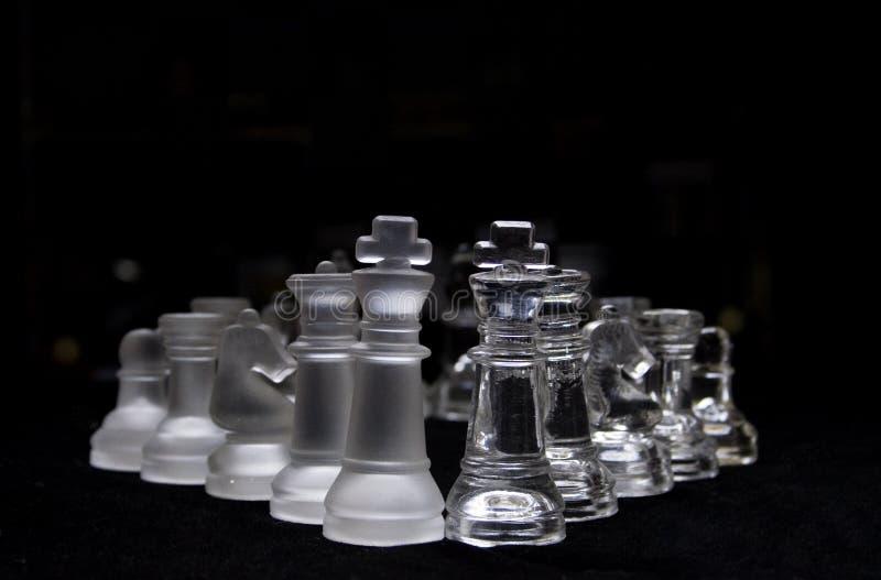 Zwart & wit glasschaakstuk royalty-vrije stock foto's