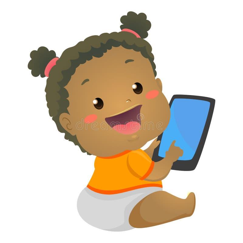 Zwart Babymeisje die Mobiele Tablet gebruiken royalty-vrije illustratie