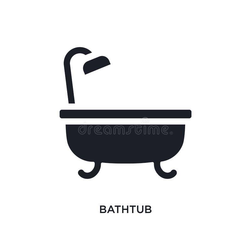 zwart badkuip geïsoleerd vectorpictogram eenvoudige elementenillustratie van de vectorpictogrammen van het meubilairconcept badku royalty-vrije illustratie