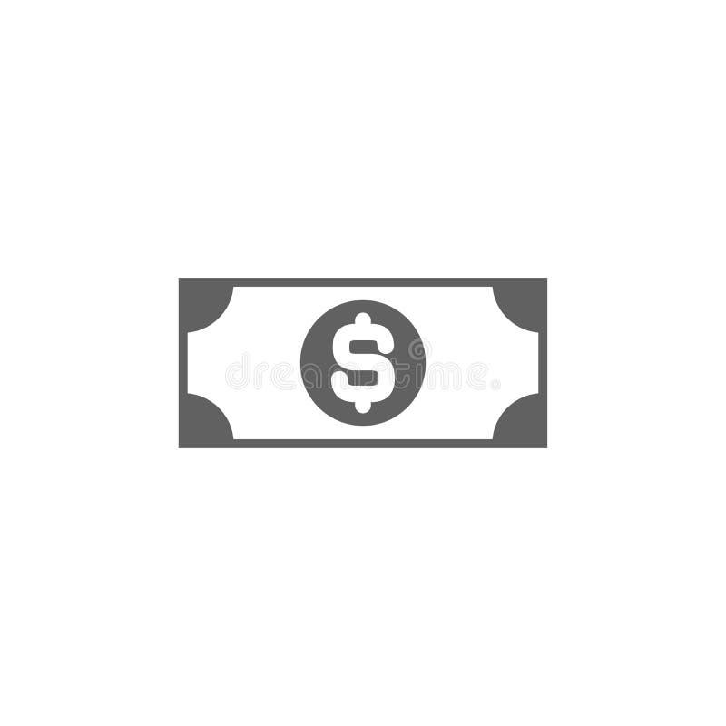Zwart bankbiljet met dollarteken Vlak die pictogram op wit wordt geïsoleerd Geldpictogram Dollar en contant geld, muntstuk stock illustratie