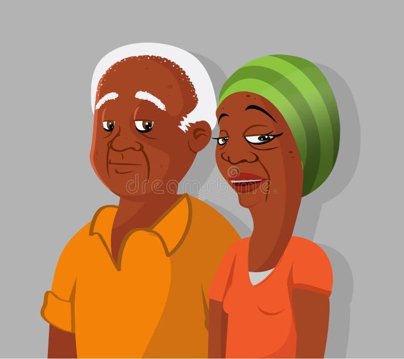 Zwart bejaard paar royalty-vrije illustratie