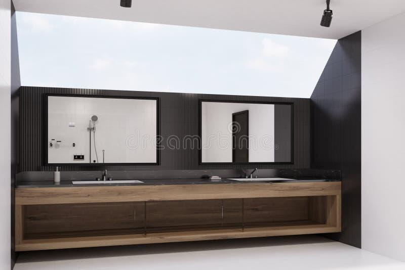 Zwart betegeld badkamersbinnenland, gootstenen, kant vector illustratie