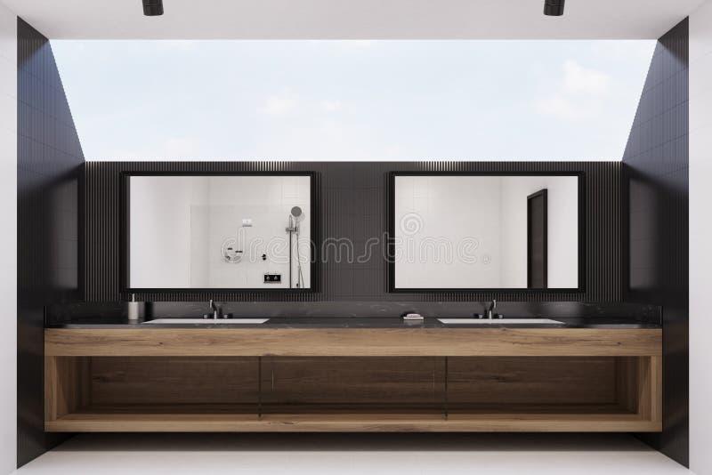 Zwart betegeld badkamersbinnenland, twee gootstenen vector illustratie