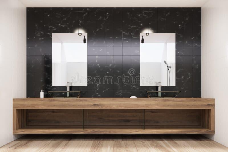 Zwart betegeld badkamersbinnenland, twee verticale gootstenen, vector illustratie