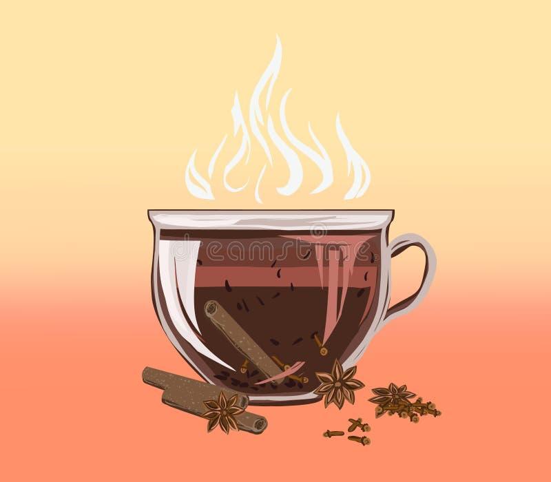 Zwart bladaftreksel in een kop met kaneel en kruidnagels Fragra royalty-vrije illustratie