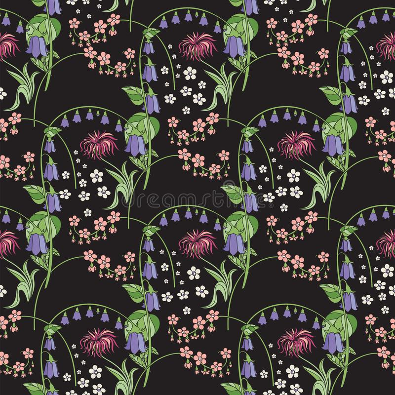Zwart bloemen naadloos patroon Klokje stock illustratie