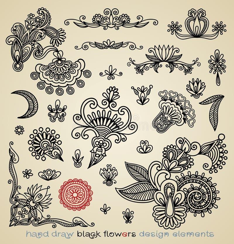 Zwart bloemontwerp stock illustratie