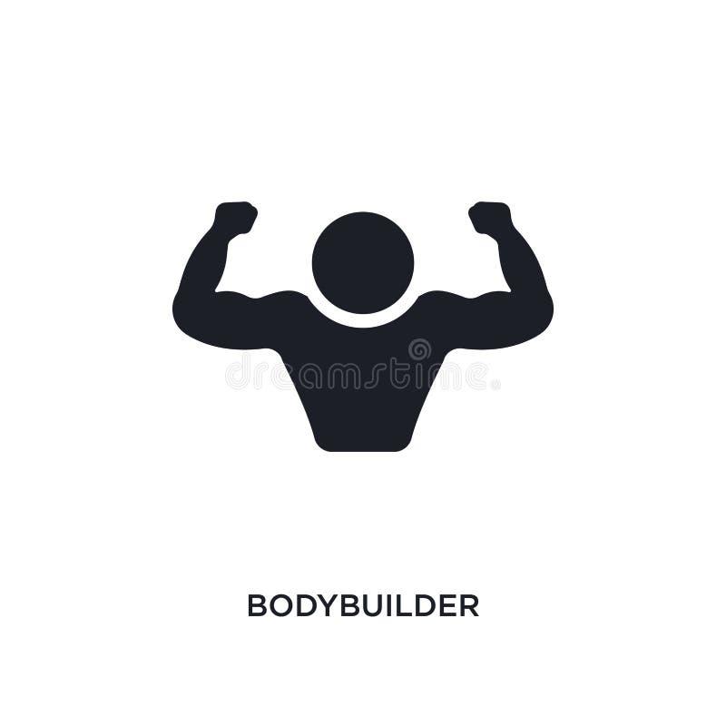 zwart bodybuilder geïsoleerd vectorpictogram eenvoudige elementenillustratie van gymnastiek en geschiktheidsconcepten vectorpicto stock illustratie