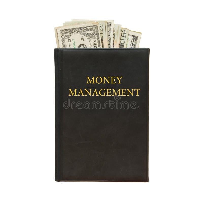 Zwart boek met geld en het beheer van het inschrijvingsgeld op witte achtergrond royalty-vrije stock afbeelding