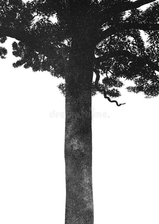 Zwart boomsilhouet met binnen melkweg royalty-vrije stock afbeelding