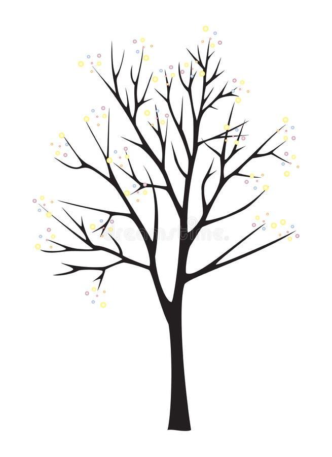 Zwart boomsilhouet op witte achtergrond vector illustratie