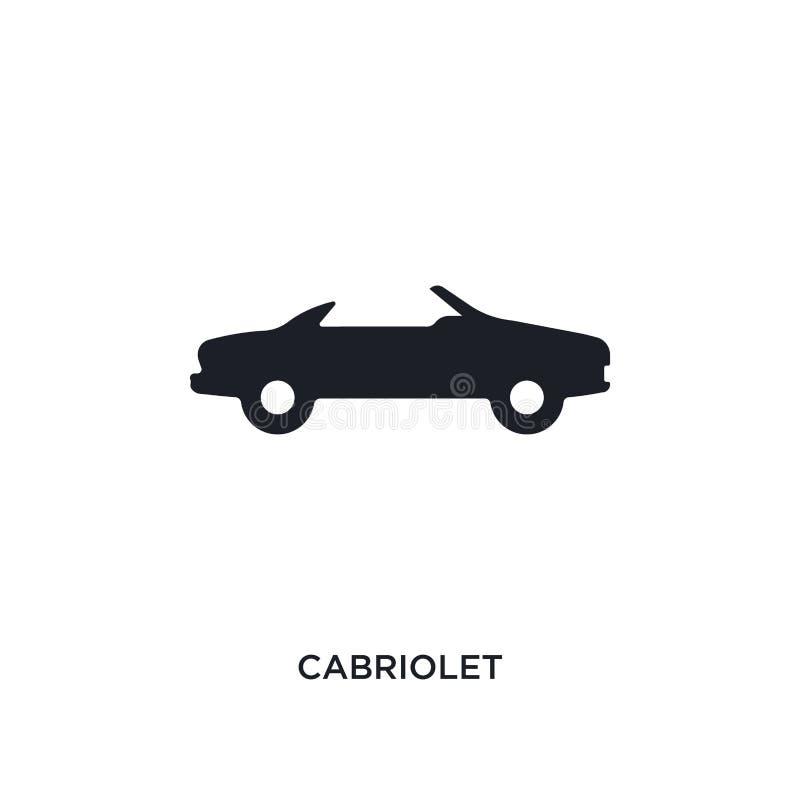 zwart cabriolet geïsoleerd vectorpictogram eenvoudige elementenillustratie van de vectorpictogrammen van het vervoersconcept edit stock illustratie