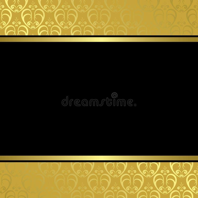 Zwart centrum op gouden achtergrond stock illustratie