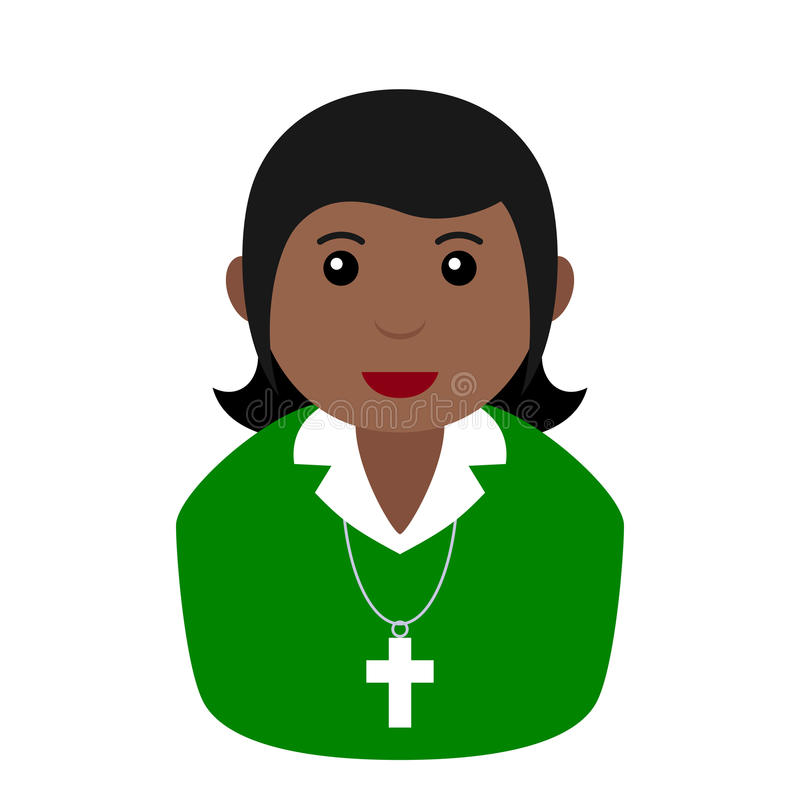 Zwart Christian Girl Avatar Flat Icon op Wit stock illustratie