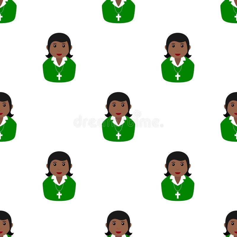 Zwart Christian Girl Avatar Seamless Pattern stock illustratie