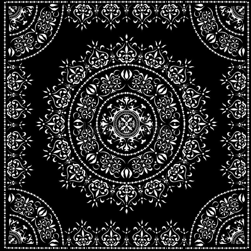 Zwart cirkelpatroon in frame stock illustratie