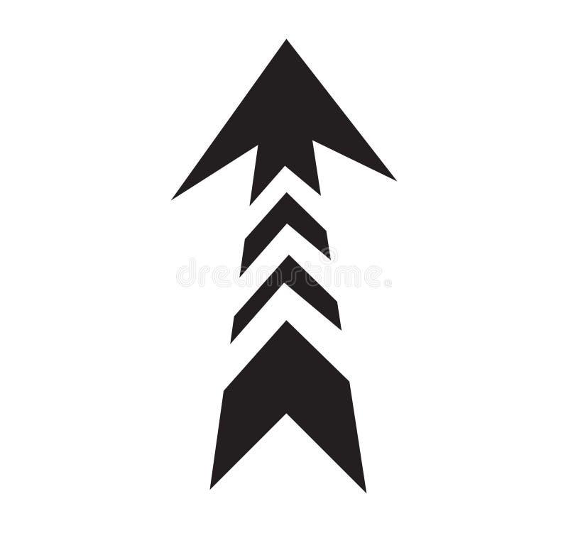 Zwart creatief geïsoleerd pijlsymbool, vector illustratie