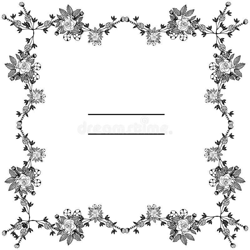Zwart decoratief kader met abstract bloemelement Vector stock illustratie