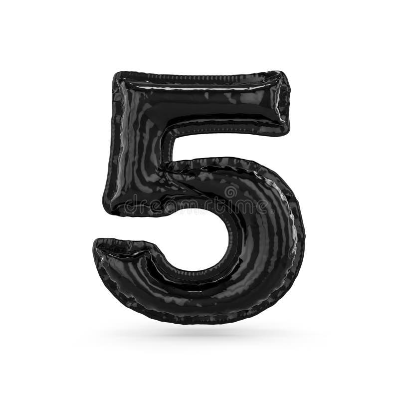 Zwart die cijfer vijf van opblaasbare geïsoleerde ballon wordt gemaakt 3d vector illustratie