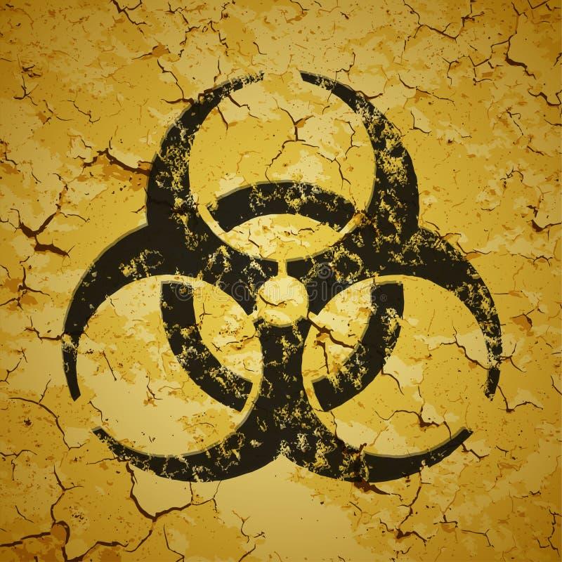 Zwart die embleem op grungemuur wordt geschilderd - biohazard lo stock illustratie