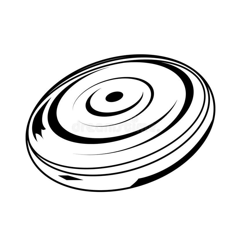 Zwart die frisbeeontwerp op wit wordt geïsoleerd royalty-vrije illustratie