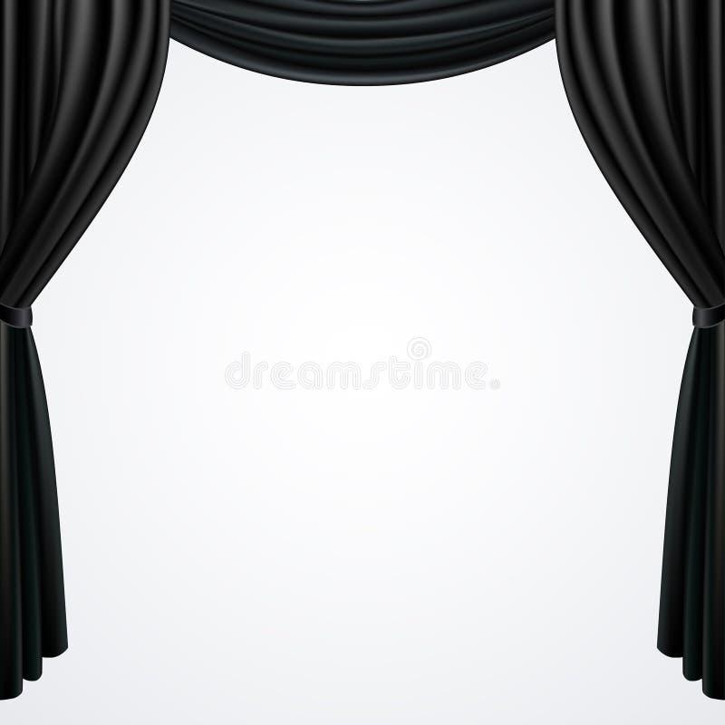Zwart die gordijnengordijn op witte achtergrond wordt geïsoleerd royalty-vrije illustratie
