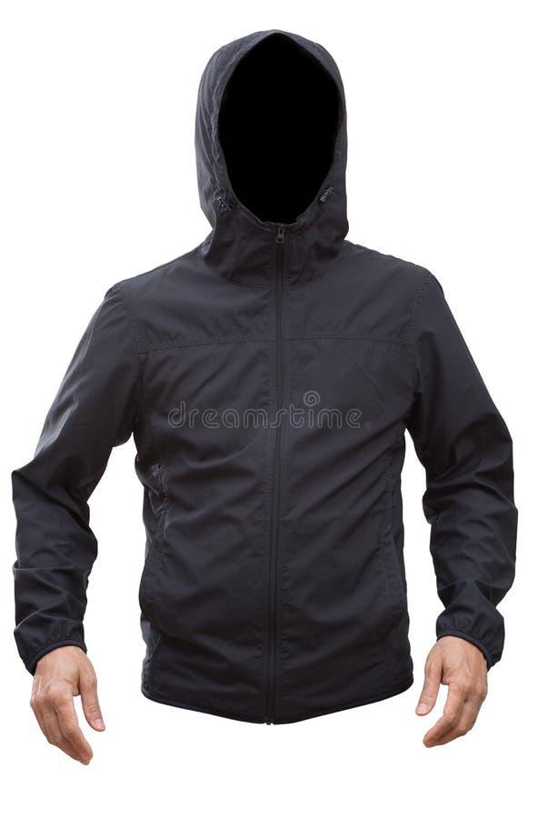 Zwart die jasje met kap en mensenhanden op witte achtergrond worden geïsoleerd stock afbeeldingen