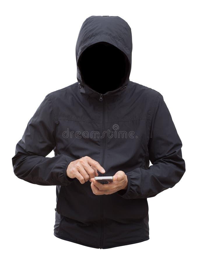 Zwart die jasje met kap en mensenhanden op witte backgroun worden geïsoleerd royalty-vrije stock foto's
