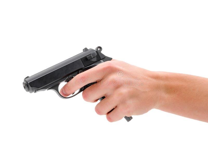 Zwart die kanonpistool op witte achtergrond wordt geïsoleerd royalty-vrije stock fotografie