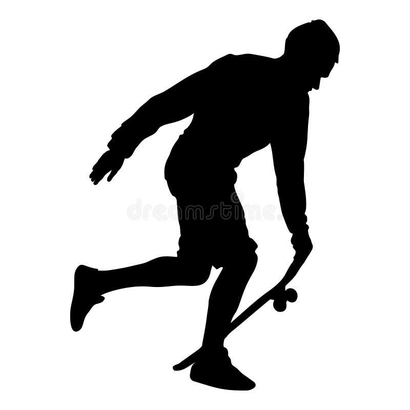 Zwart die silhouet van skateboarder op witte achtergrond wordt geïsoleerd stock illustratie