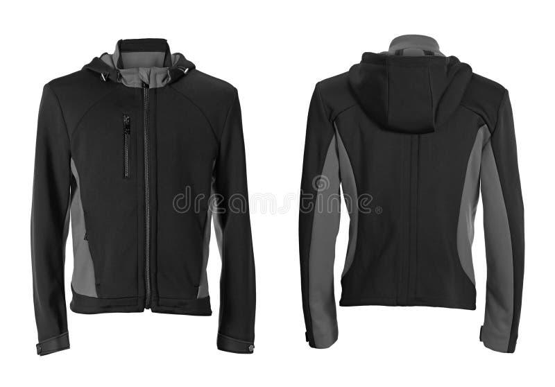 Zwart die wintersportenjasje op wit wordt geïsoleerd stock fotografie