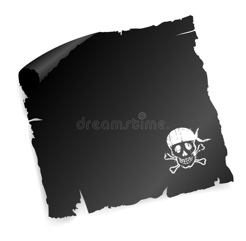 Zwart document met piratenteken. stock illustratie