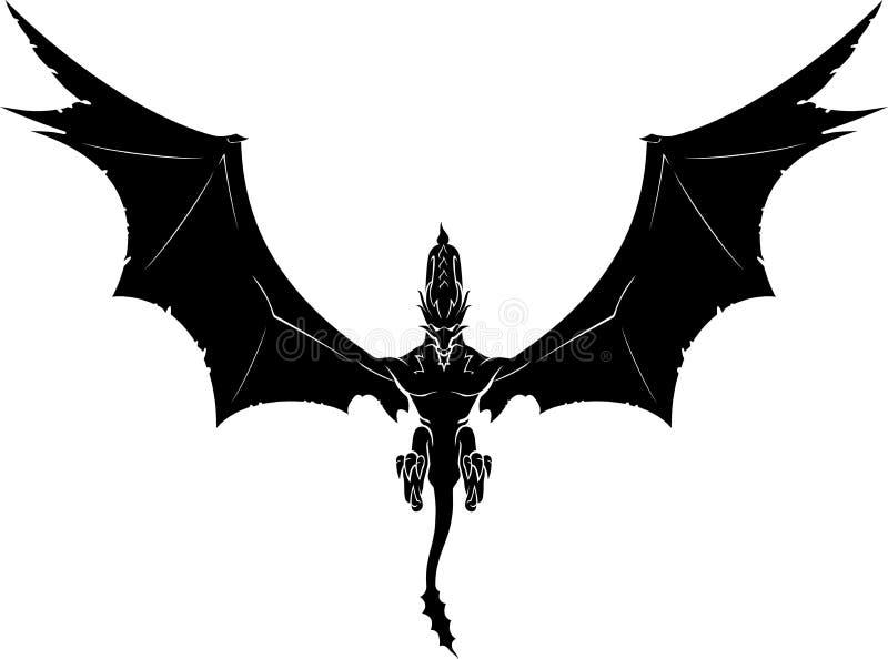 Zwart Dragon Descend royalty-vrije illustratie