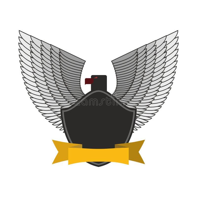 Zwart Eagle met witte vleugels Embleem of embleem de militairen van FO vector illustratie