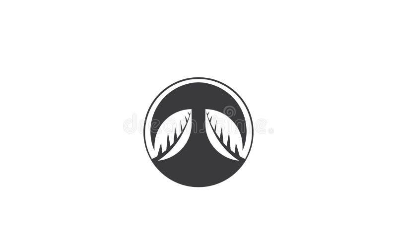 Zwart Ecologieblad Logo Template - Zwarte Verse de Natuurvoeding Natuurlijke Gezondheidszorg van Gezondheidseco Logotype stock illustratie