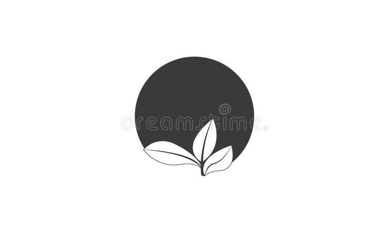 Zwart Ecologieblad Logo Template - Zwarte Verse de Natuurvoeding Natuurlijke Gezondheidszorg van Gezondheidseco Logotype royalty-vrije illustratie