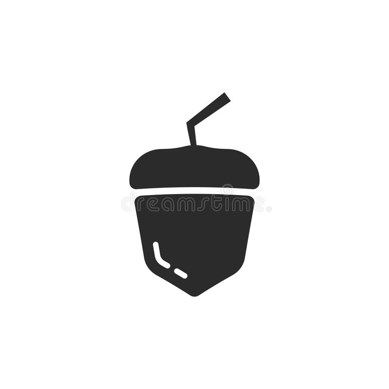 Zwart eenvoudig eikelpictogram royalty-vrije illustratie